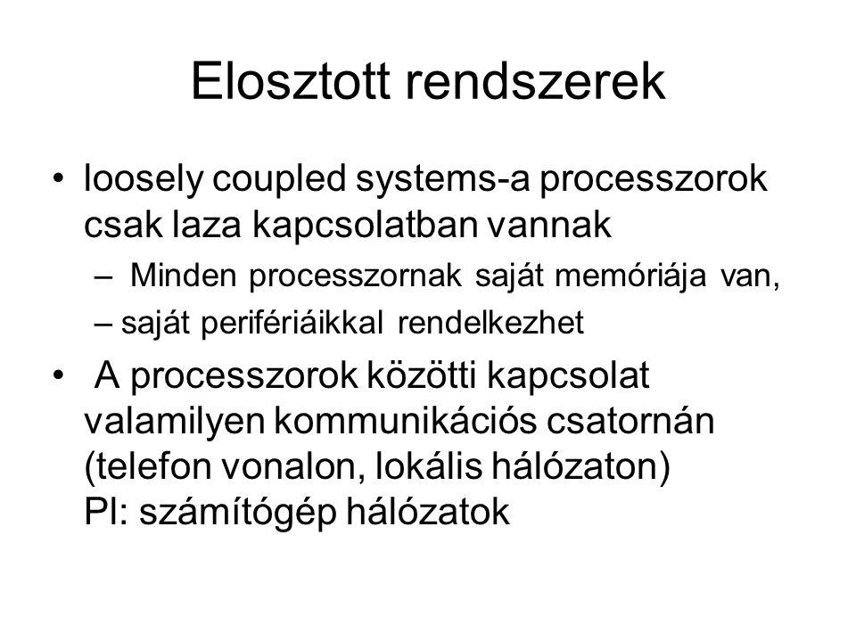 Elosztott rendszerek loosely coupled systems-a processzorok csak laza kapcsolatban vannak. Minden processzornak saját memóriája van,