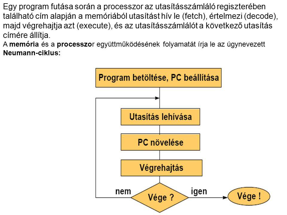 Egy program futása során a processzor az utasításszámláló regiszterében található cím alapján a memóriából utasítást hív le (fetch), értelmezi (decode), majd végrehajtja azt (execute), és az utasításszámlálót a következő utasítás címére állítja.