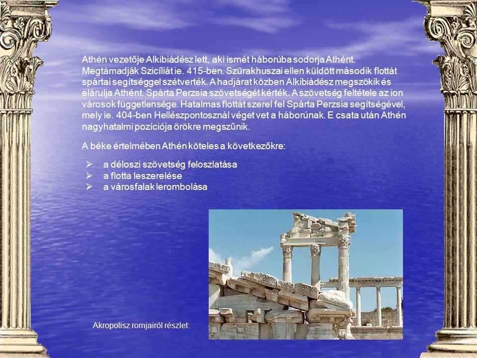 A béke értelmében Athén köteles a következőkre: