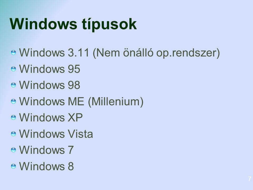 Windows típusok Windows 3.11 (Nem önálló op.rendszer) Windows 95