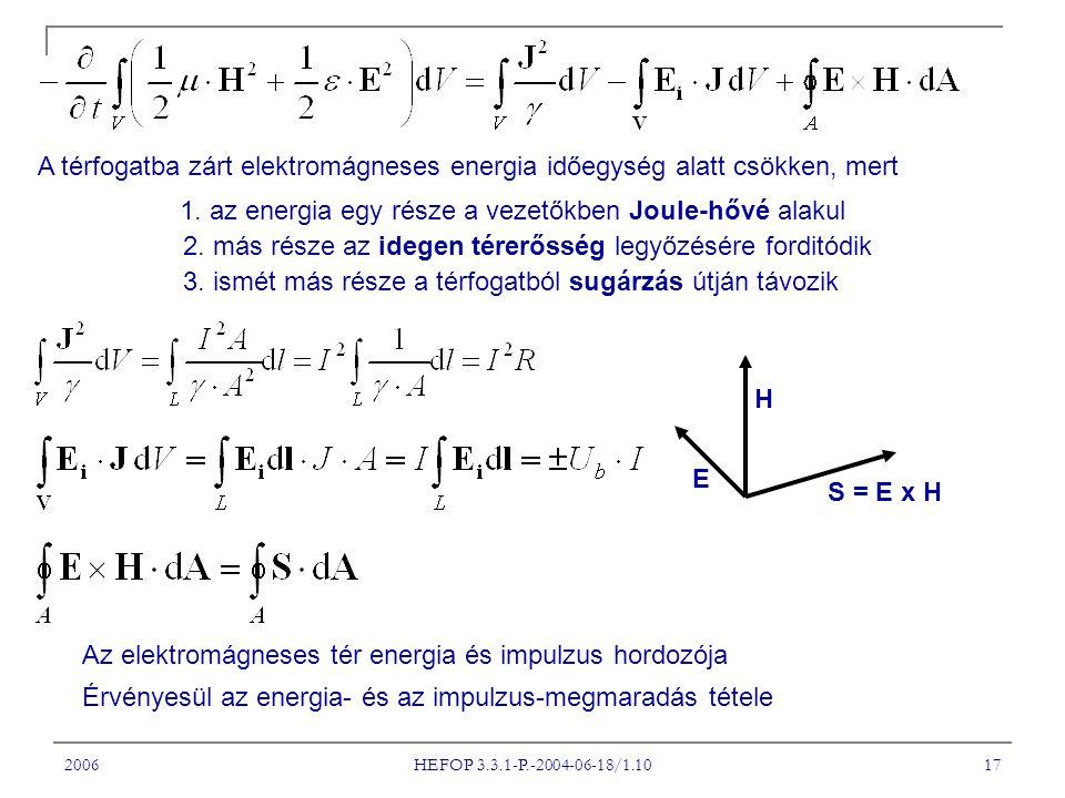 1. az energia egy része a vezetőkben Joule-hővé alakul