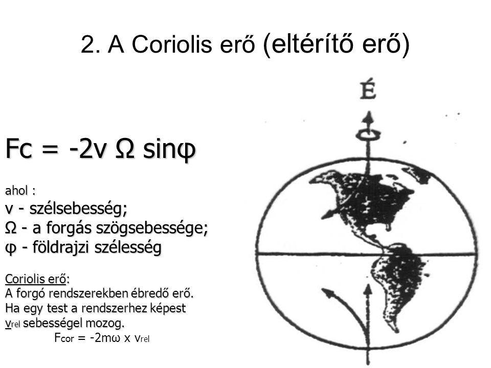 2. A Coriolis erő (eltérítő erő)