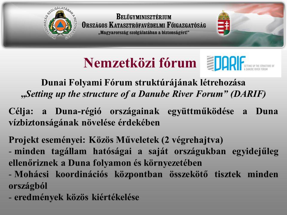 "Nemzetközi fórum Dunai Folyami Fórum struktúrájának létrehozása ""Setting up the structure of a Danube River Forum (DARIF)"