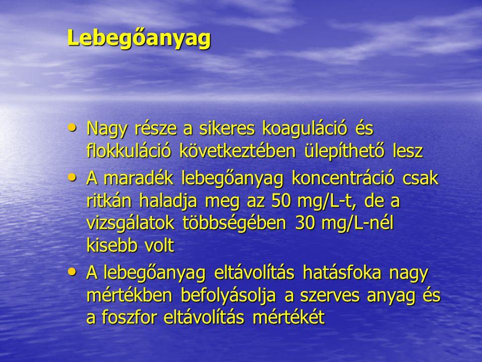 Lebegőanyag Nagy része a sikeres koaguláció és flokkuláció következtében ülepíthető lesz.