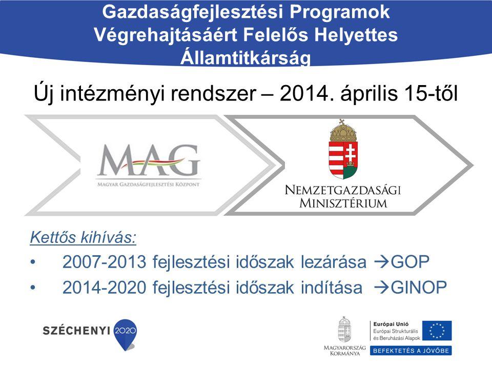 Új intézményi rendszer – 2014. április 15-től