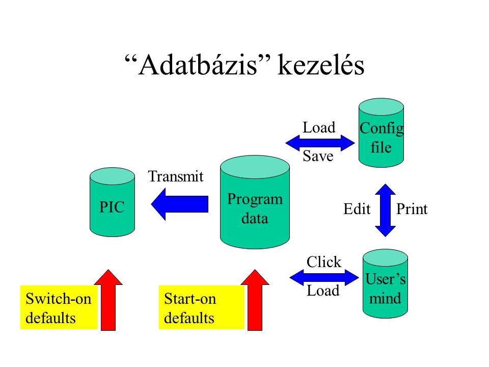 Adatbázis kezelés Config file Load Save Program data Transmit PIC