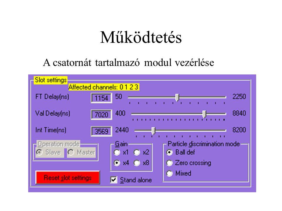 Működtetés A csatornát tartalmazó modul vezérlése