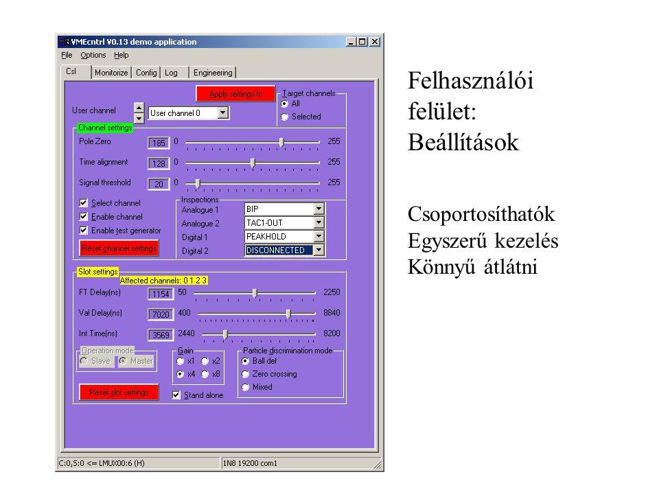 Felhasználói felület: Beállítások