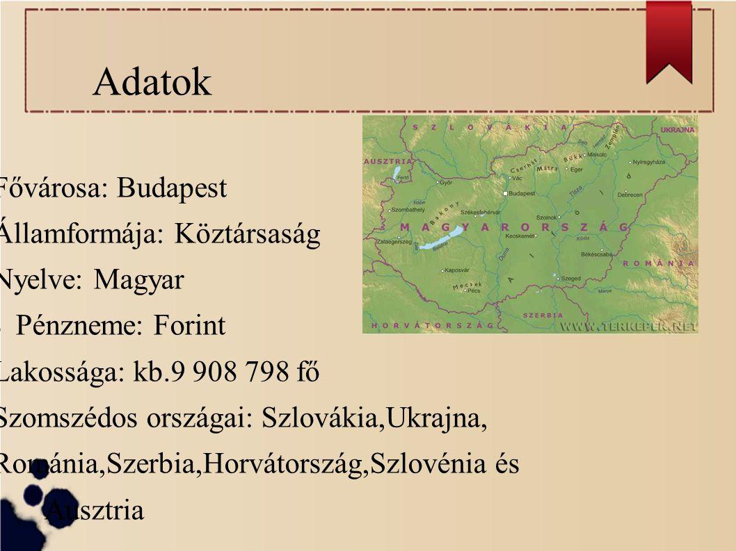 Adatok Fővárosa: Budapest Államformája: Köztársaság Nyelve: Magyar