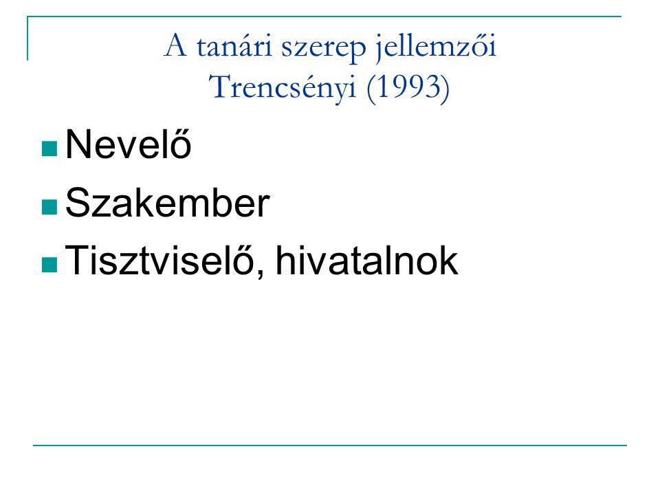 A tanári szerep jellemzői Trencsényi (1993)