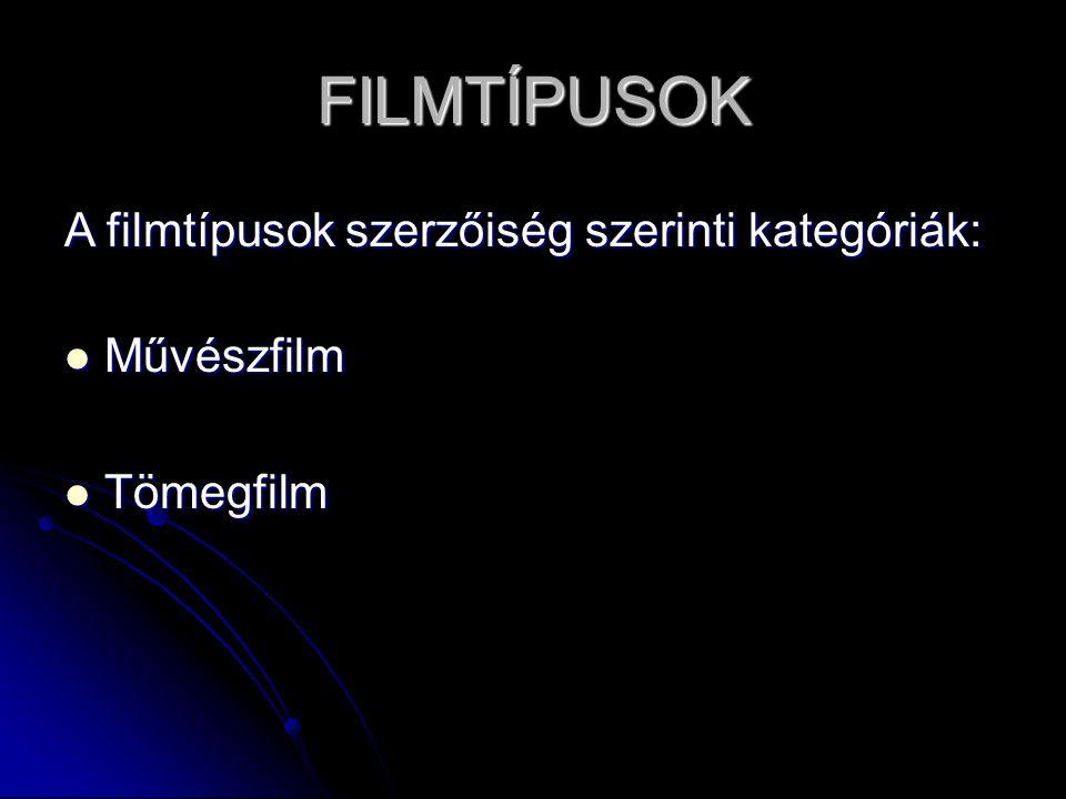 FILMTÍPUSOK A filmtípusok szerzőiség szerinti kategóriák: Művészfilm