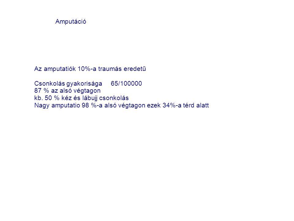 Amputáció Az amputatiók 10%-a traumás eredetű. Csonkolás gyakorisága 65/100000. 87 % az alsó végtagon.