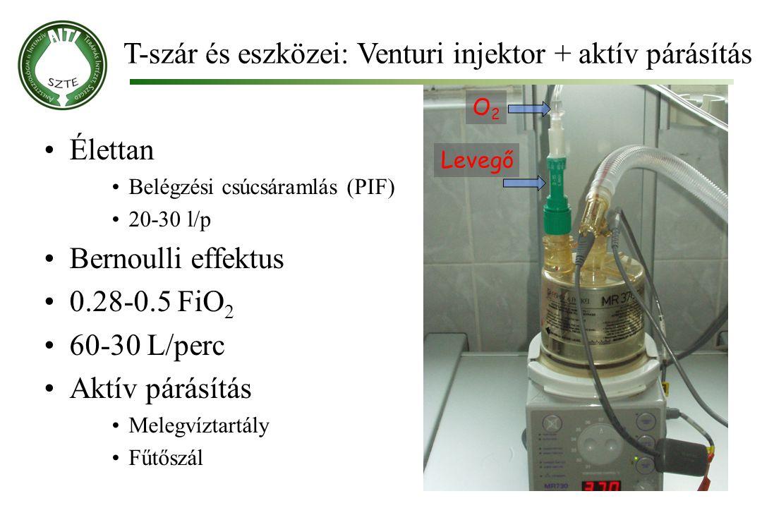 T-szár és eszközei: Venturi injektor + aktív párásítás