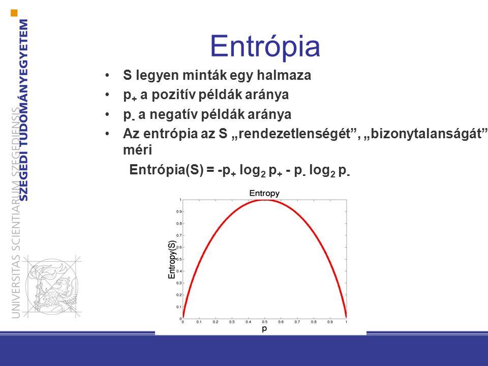 Entrópia Entrópia(S)= az S véletlenül választott elemének (legjobb kódolás melletti) kódolásához szükséges bitek várható értéke.