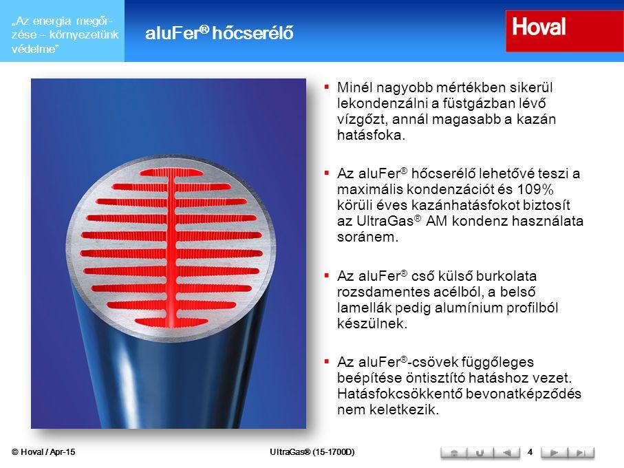 aluFer® hőcserélő Minél nagyobb mértékben sikerül lekondenzálni a füstgázban lévő vízgőzt, annál magasabb a kazán hatásfoka.