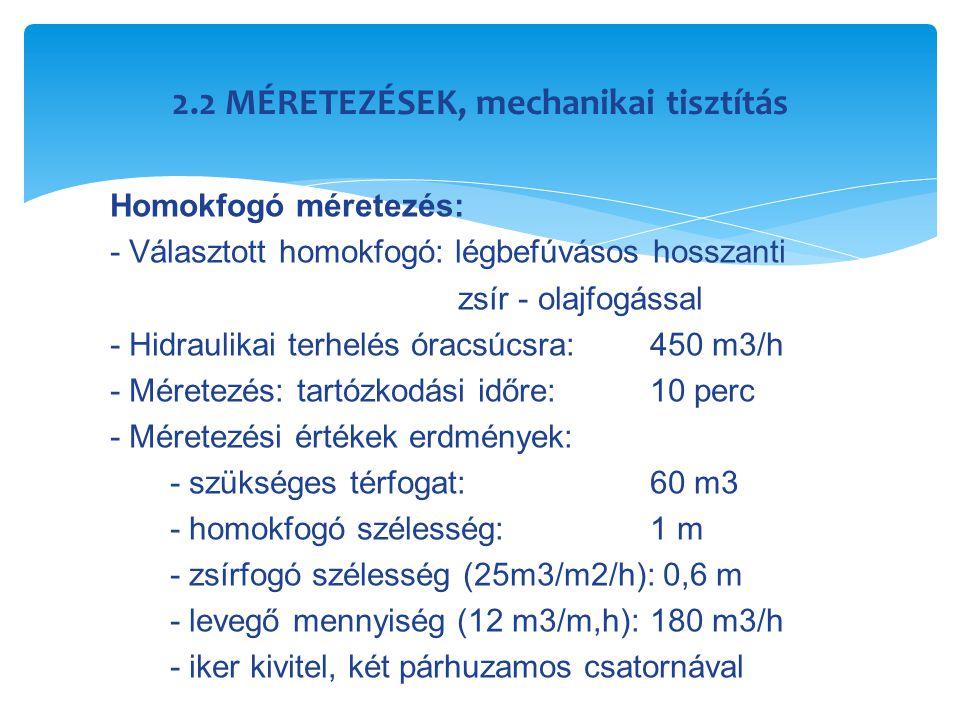 2.2 MÉRETEZÉSEK, mechanikai tisztítás