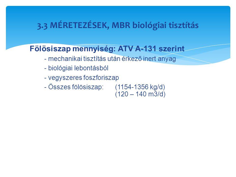 3.3 MÉRETEZÉSEK, MBR biológiai tisztítás