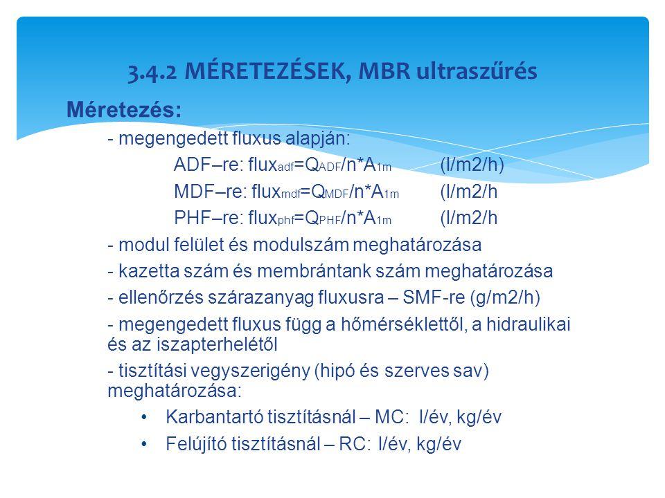 3.4.2 MÉRETEZÉSEK, MBR ultraszűrés