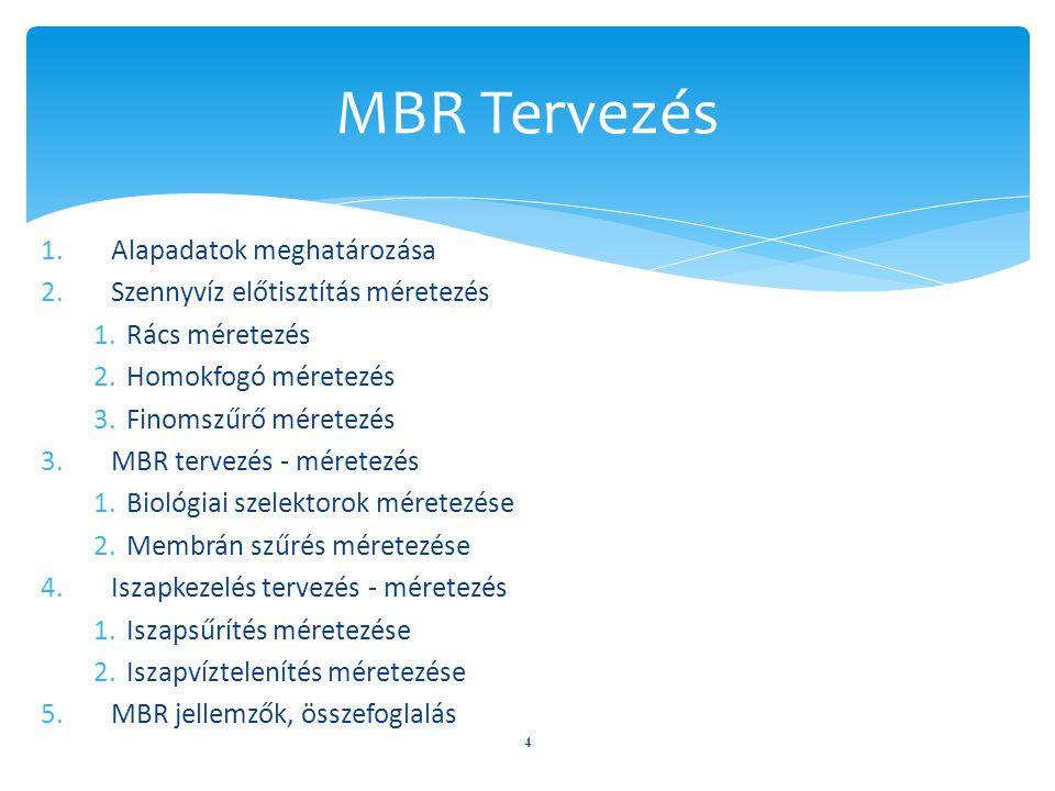 MBR Tervezés Alapadatok meghatározása Szennyvíz előtisztítás méretezés