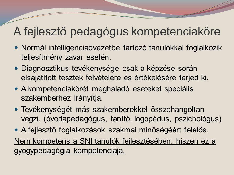 A fejlesztő pedagógus kompetenciaköre