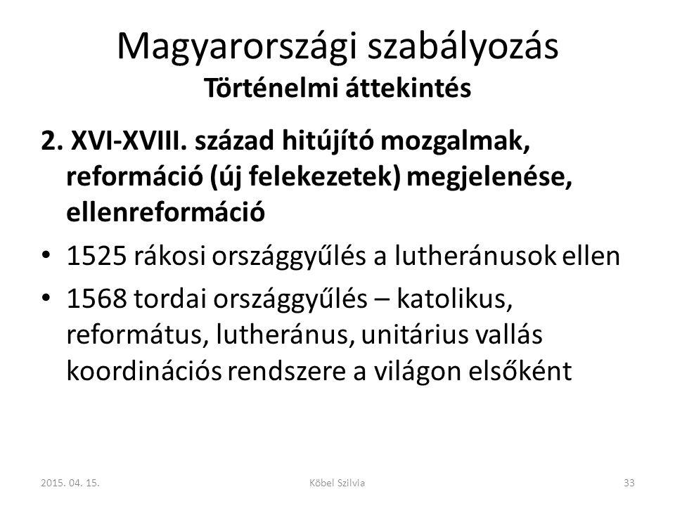 Magyarországi szabályozás Történelmi áttekintés