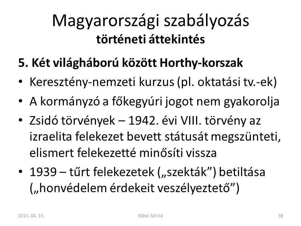Magyarországi szabályozás történeti áttekintés