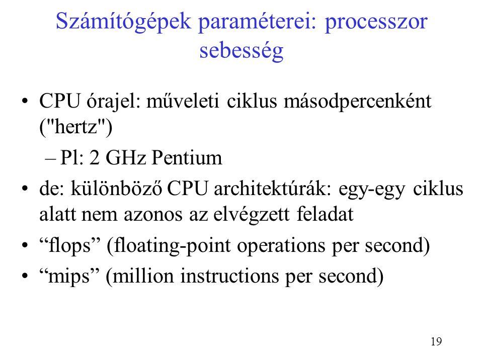 Számítógépek paraméterei: processzor sebesség