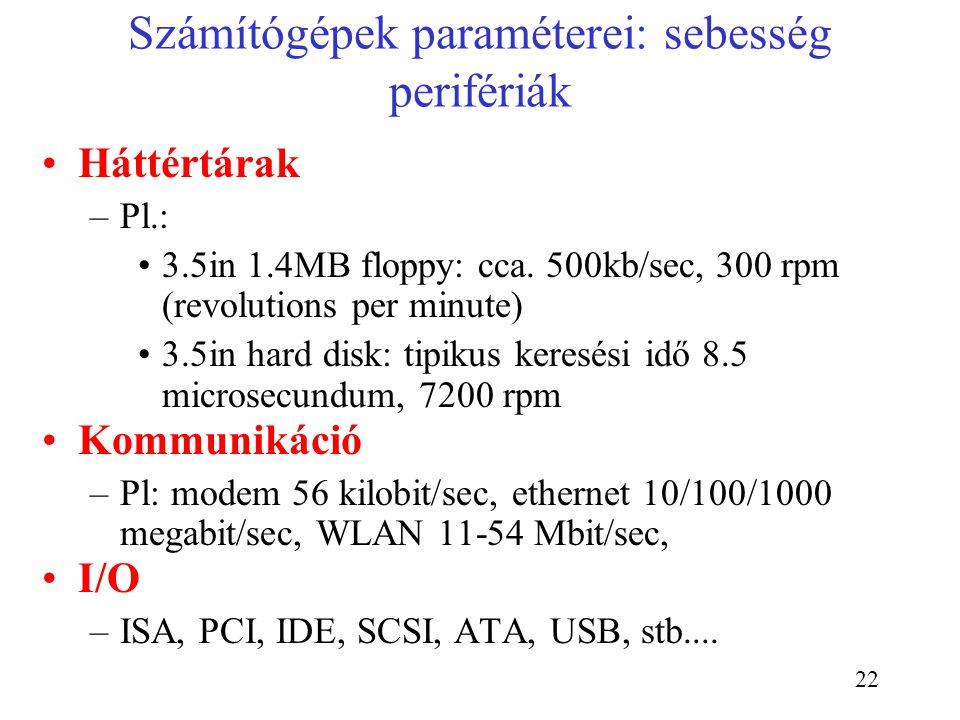 Számítógépek paraméterei: sebesség perifériák