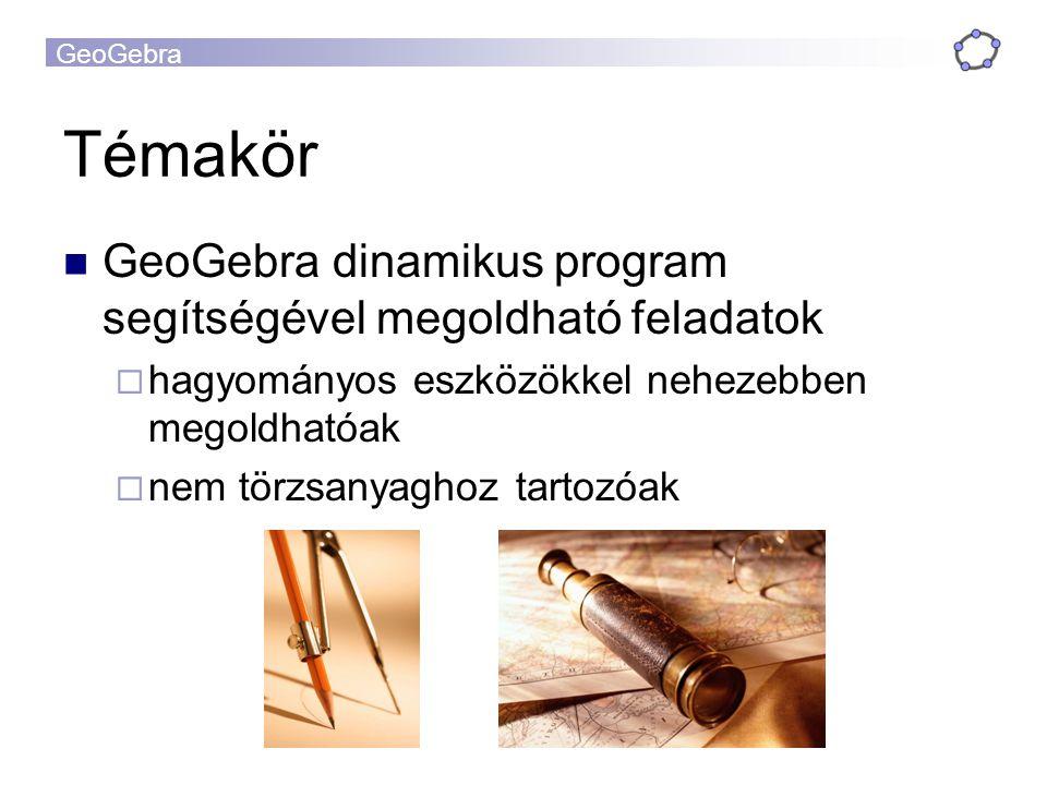 Témakör GeoGebra dinamikus program segítségével megoldható feladatok