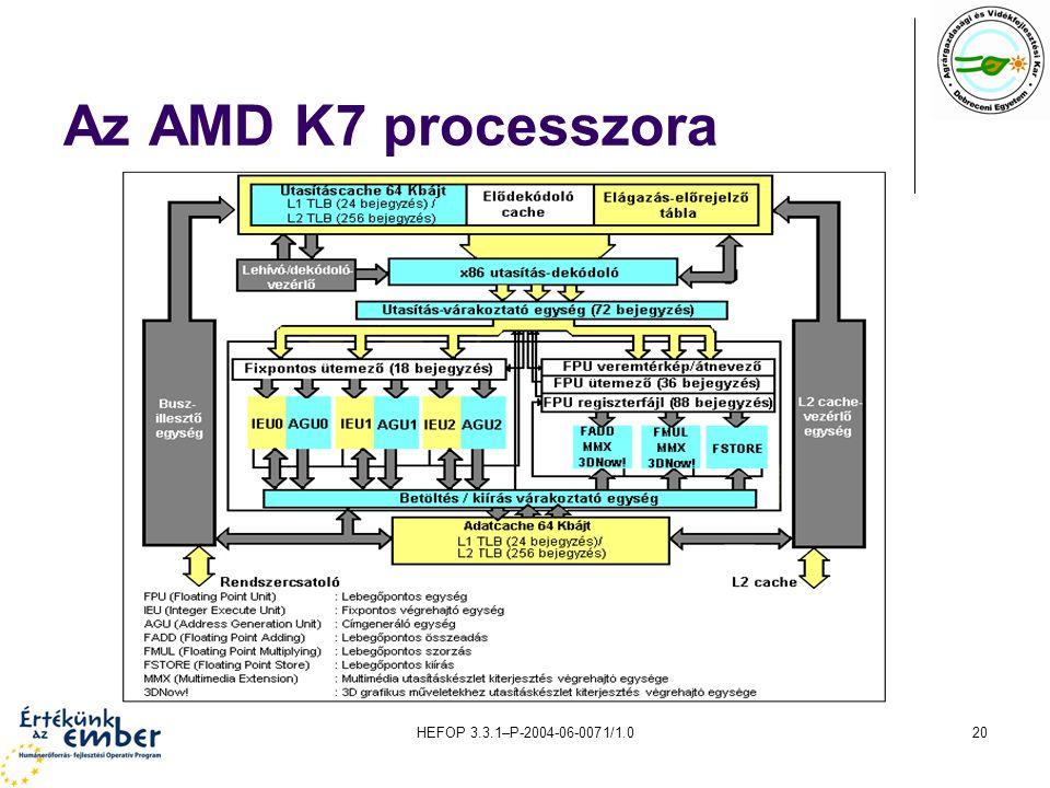 Az AMD K7 processzora HEFOP 3.3.1–P-2004-06-0071/1.0