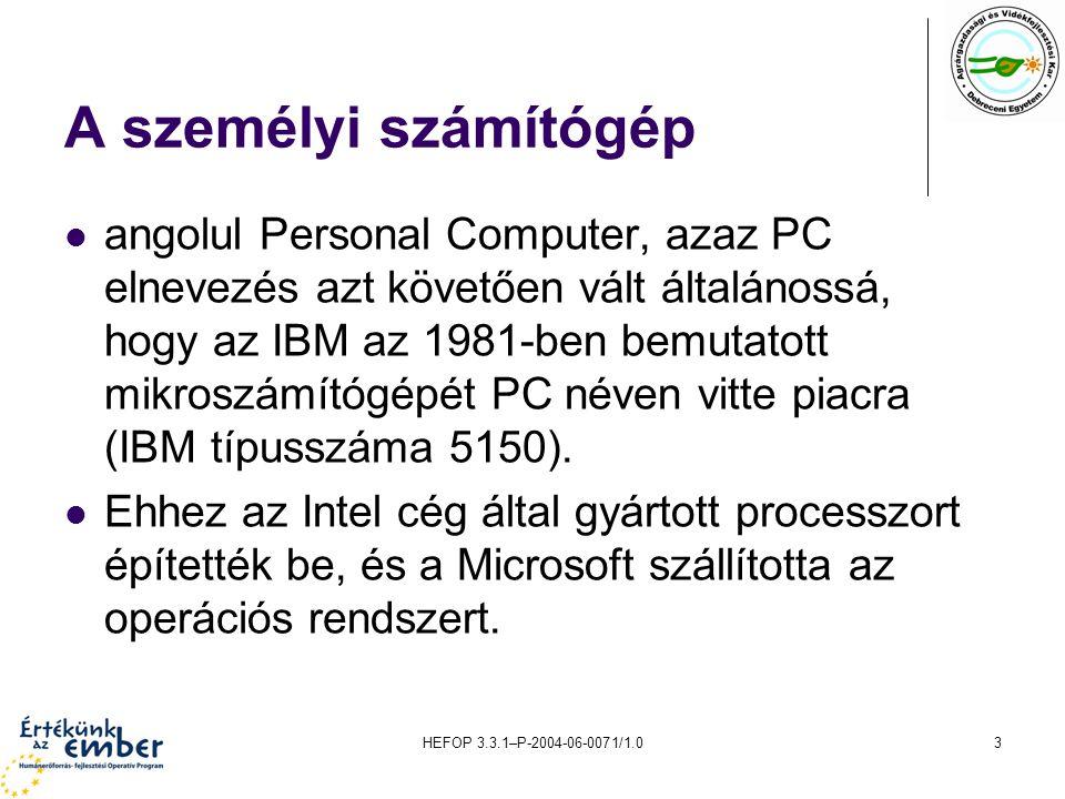 A személyi számítógép