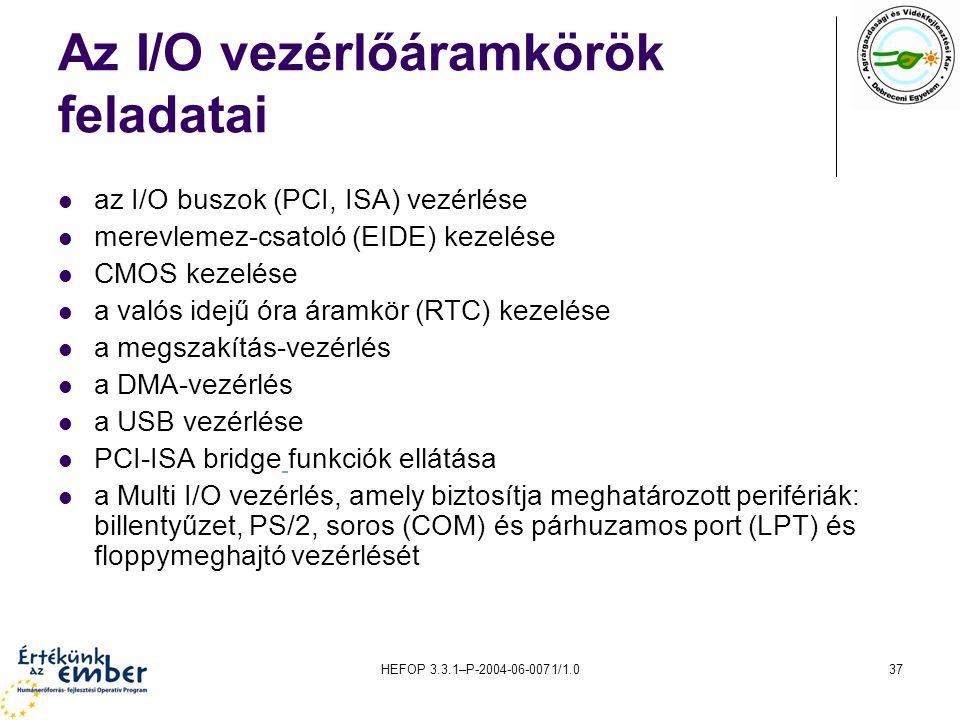 Az I/O vezérlőáramkörök feladatai