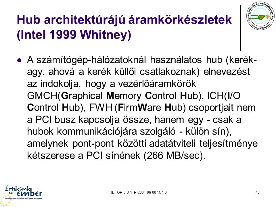 Hub architektúrájú áramkörkészletek (Intel 1999 Whitney)