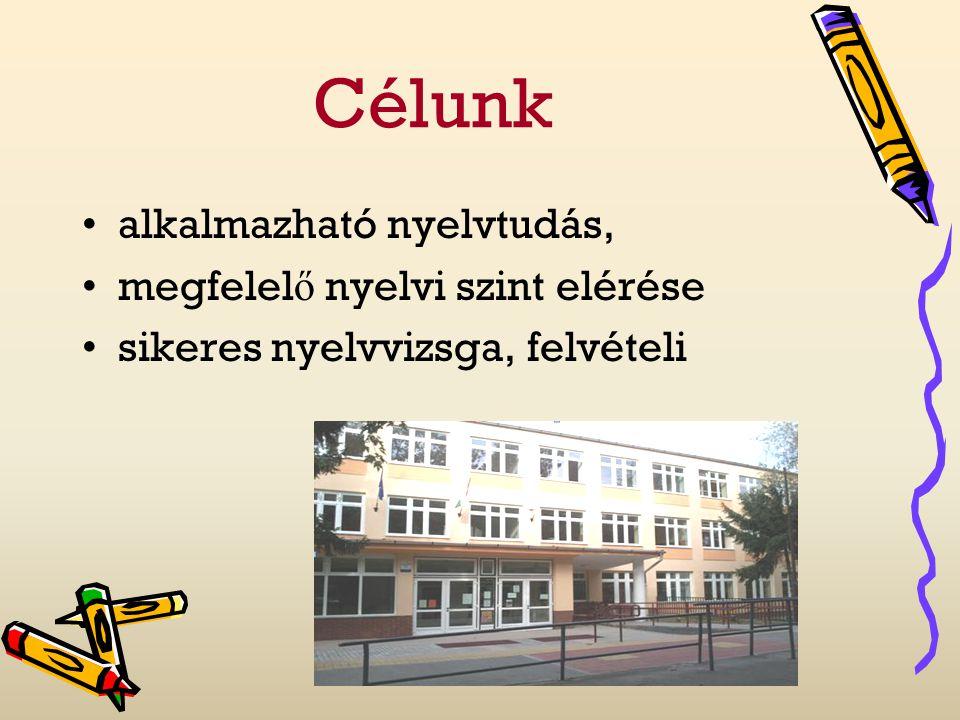 Célunk alkalmazható nyelvtudás, megfelelő nyelvi szint elérése