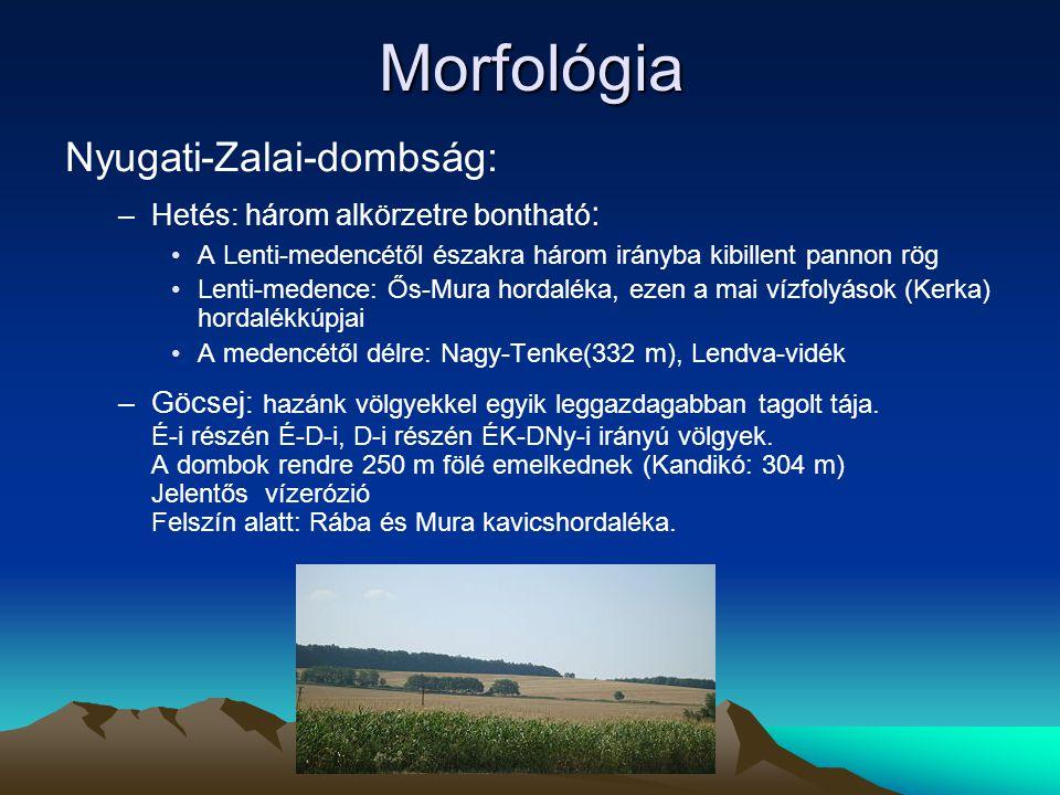 Morfológia Nyugati-Zalai-dombság: Hetés: három alkörzetre bontható: