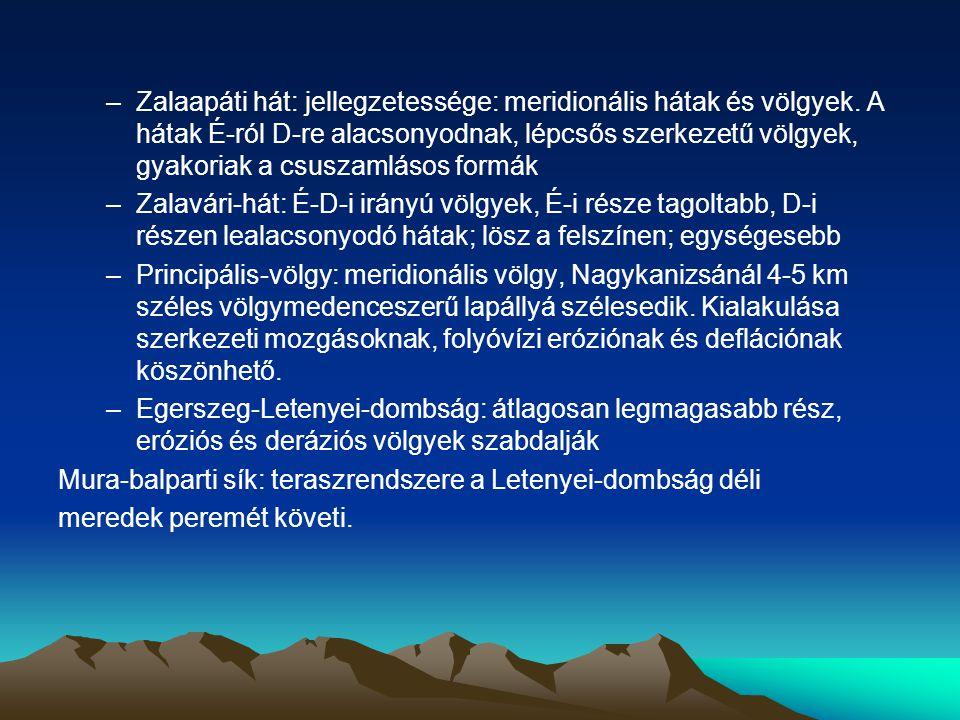 Zalaapáti hát: jellegzetessége: meridionális hátak és völgyek