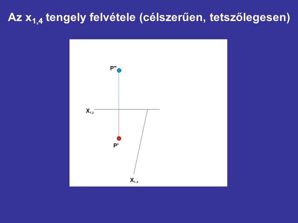 Az x1,4 tengely felvétele (célszerűen, tetszőlegesen)