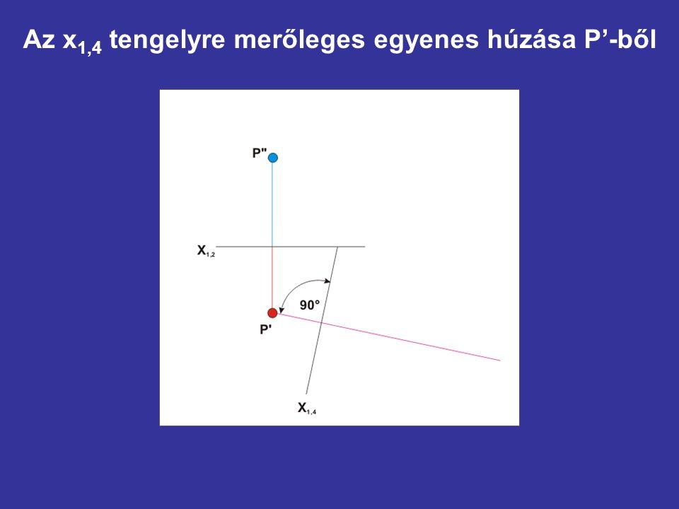 Az x1,4 tengelyre merőleges egyenes húzása P'-ből