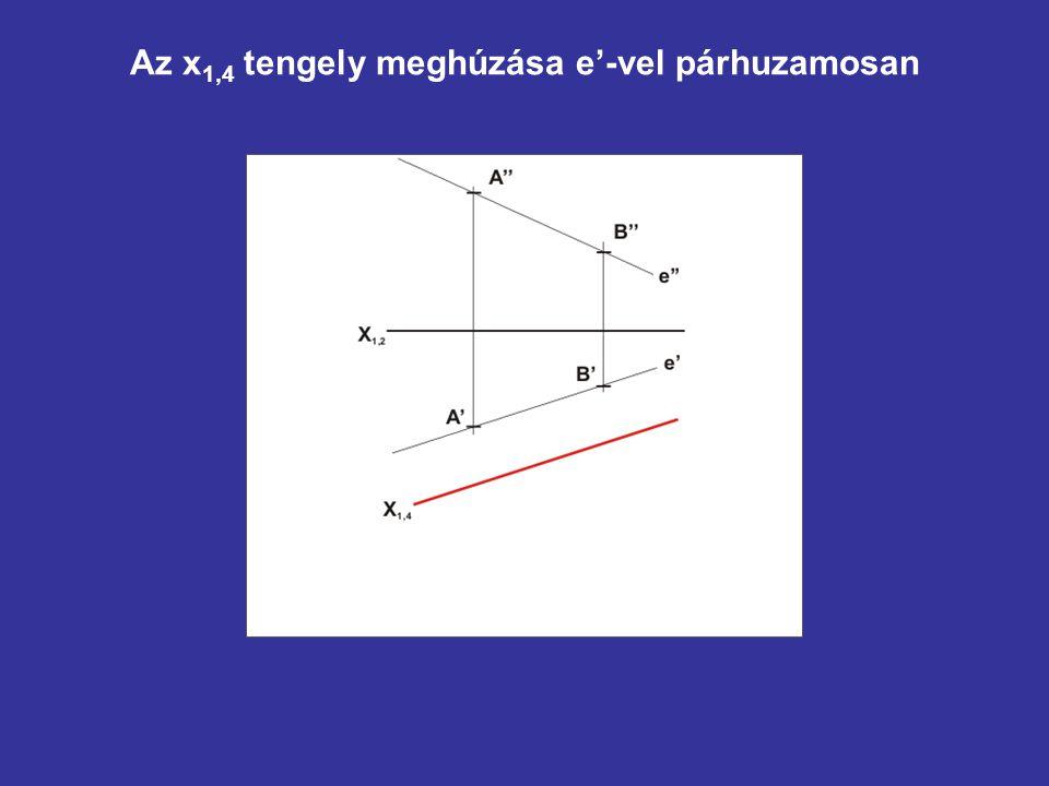 Az x1,4 tengely meghúzása e'-vel párhuzamosan