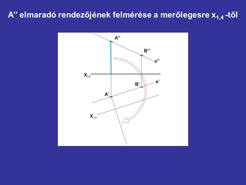 A'' elmaradó rendezőjének felmérése a merőlegesre x1,4 -től