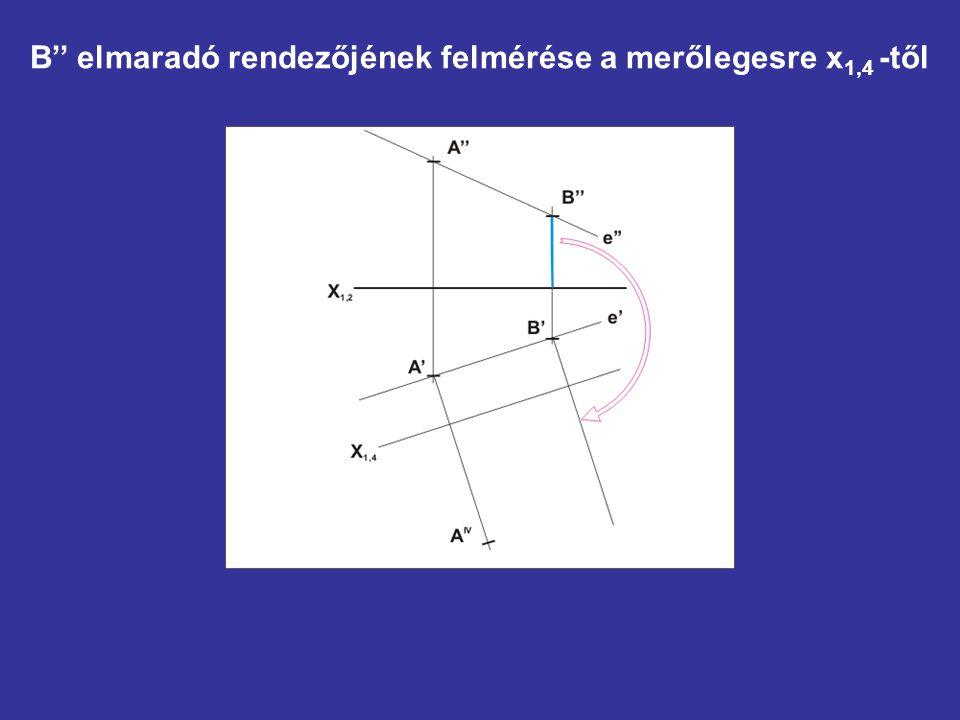B'' elmaradó rendezőjének felmérése a merőlegesre x1,4 -től