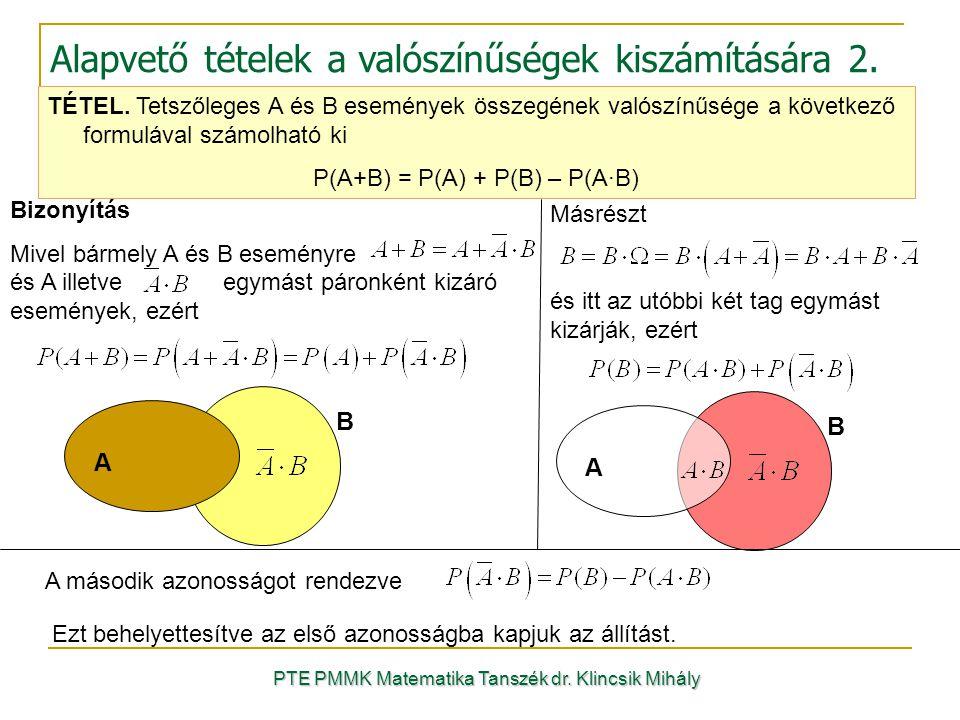 Alapvető tételek a valószínűségek kiszámítására 2.