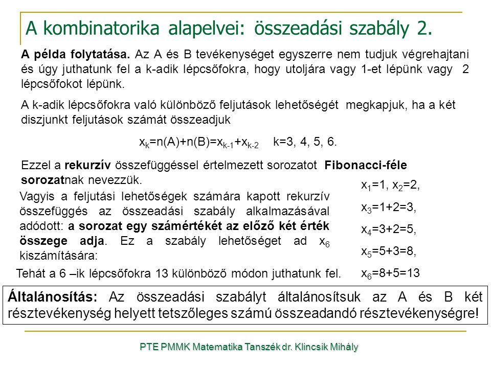 A kombinatorika alapelvei: összeadási szabály 2.