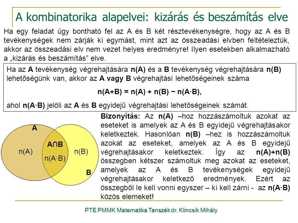 A kombinatorika alapelvei: kizárás és beszámítás elve