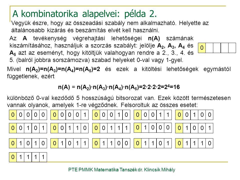 A kombinatorika alapelvei: példa 2.