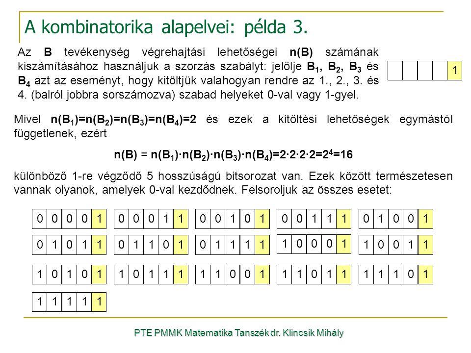 A kombinatorika alapelvei: példa 3.