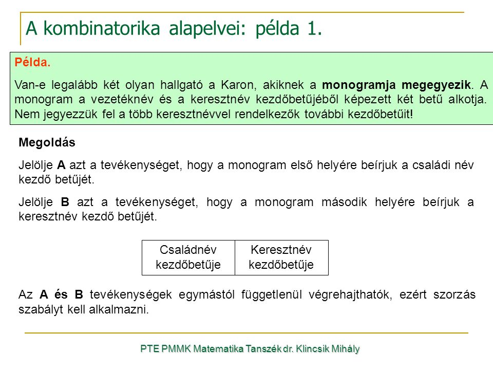 A kombinatorika alapelvei: példa 1.