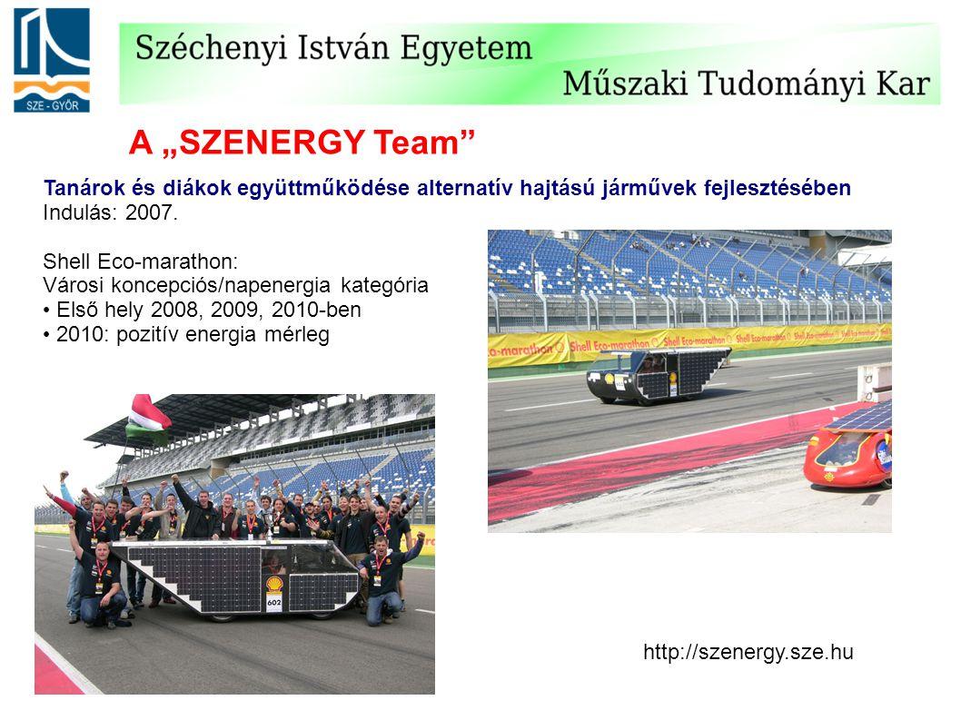 """A """"SZENERGY Team Tanárok és diákok együttműködése alternatív hajtású járművek fejlesztésében. Indulás: 2007."""