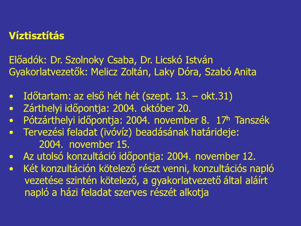 Víztisztítás Előadók: Dr. Szolnoky Csaba, Dr. Licskó István. Gyakorlatvezetők: Melicz Zoltán, Laky Dóra, Szabó Anita.