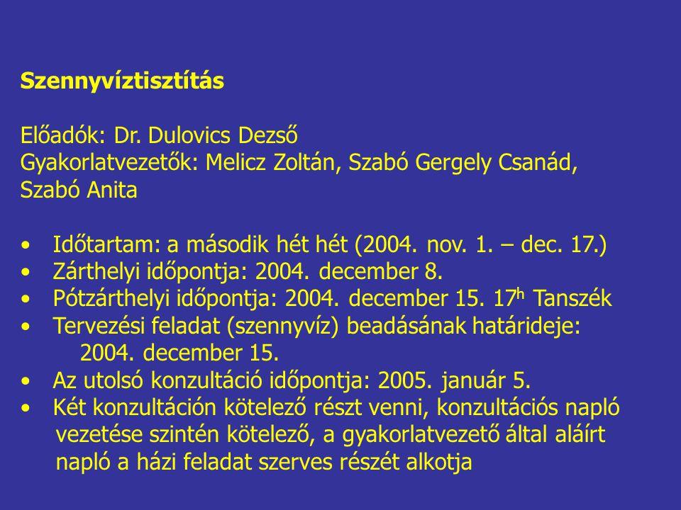 Szennyvíztisztítás Előadók: Dr. Dulovics Dezső. Gyakorlatvezetők: Melicz Zoltán, Szabó Gergely Csanád,